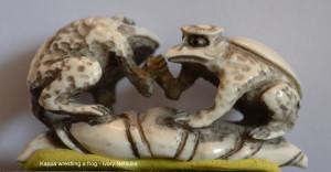 Kappa wrestling a frog